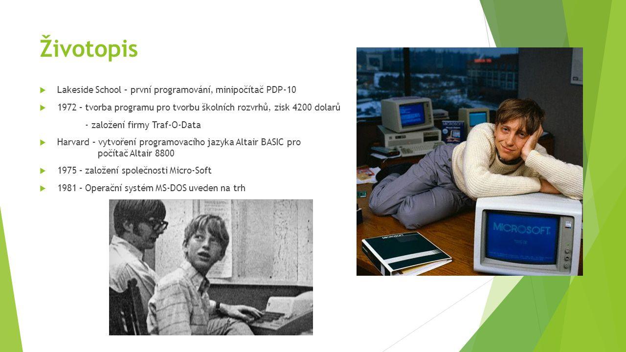 Životopis  Lakeside School – první programování, minipočítač PDP-10  1972 – tvorba programu pro tvorbu školních rozvrhů, zisk 4200 dolarů - založení