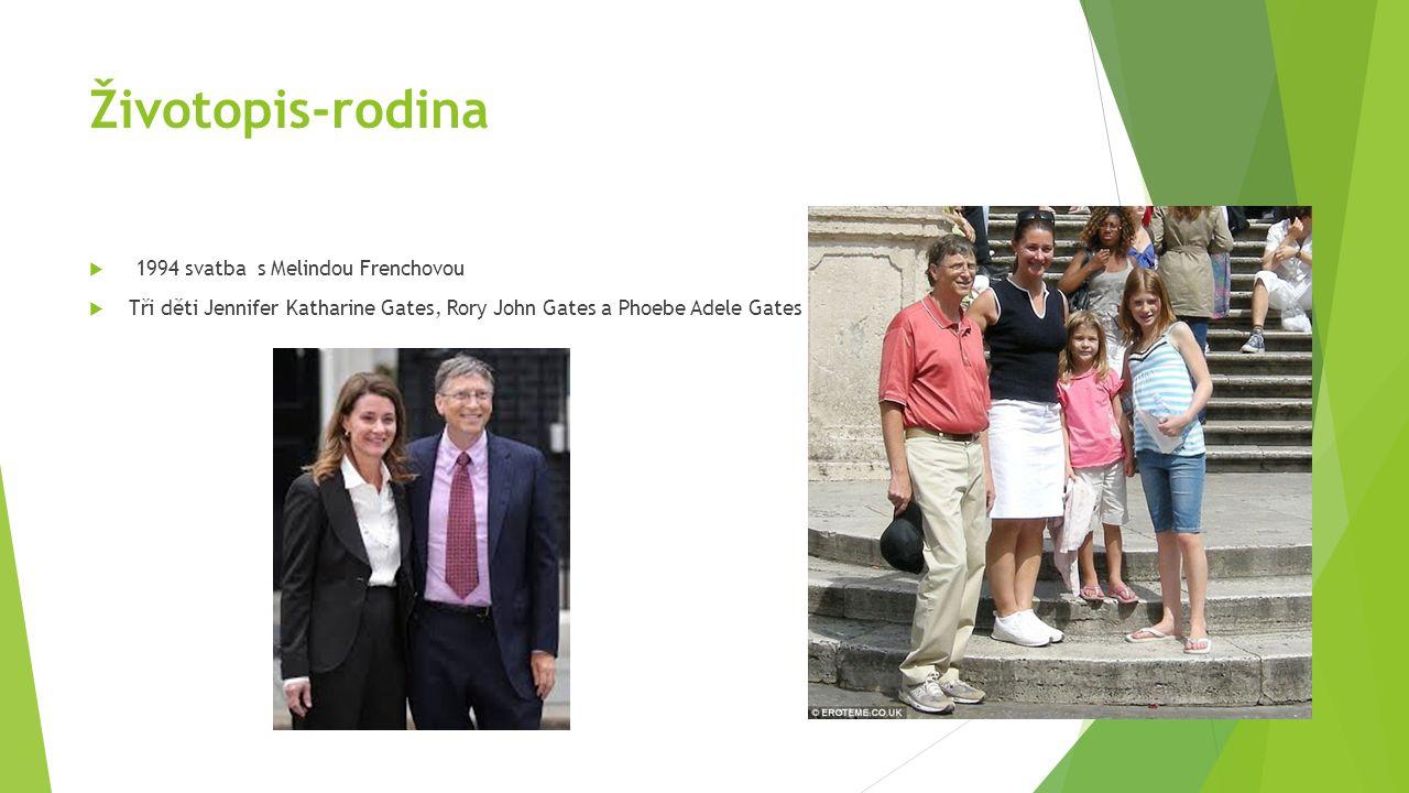 Životopis-rodina  1994 svatba s Melindou Frenchovou  Tři děti Jennifer Katharine Gates, Rory John Gates a Phoebe Adele Gates