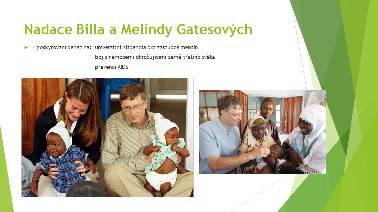 Nadace Billa a Melindy Gatesových  poskytování peněz na: univerzitní stipendia pro zástupce menšin boj s nemocemi ohrožujícími země třetího světa pre