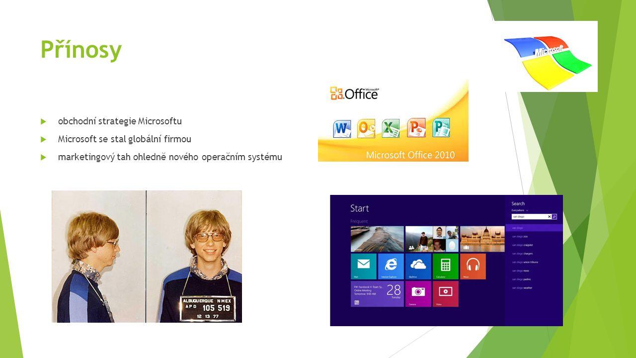 Přínosy  obchodní strategie Microsoftu  Microsoft se stal globální firmou  marketingový tah ohledně nového operačním systému