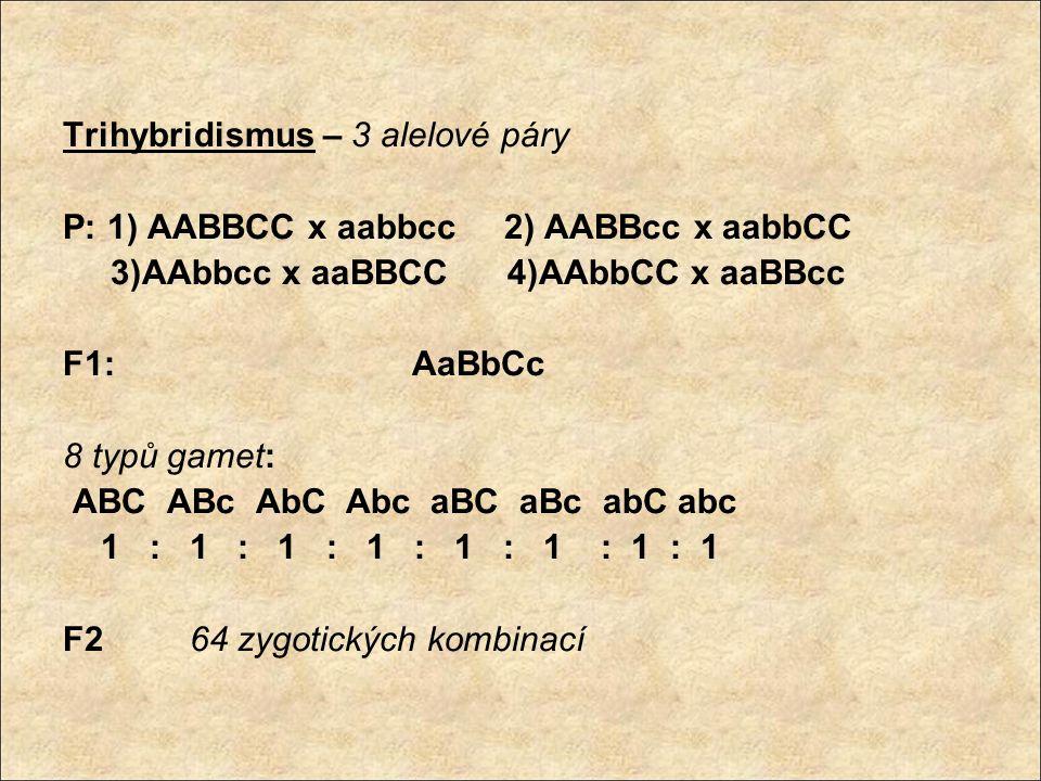 Trihybridismus – 3 alelové páry P: 1) AABBCC x aabbcc 2) AABBcc x aabbCC 3)AAbbcc x aaBBCC 4)AAbbCC x aaBBcc F1: AaBbCc 8 typů gamet: ABC ABc AbC Abc