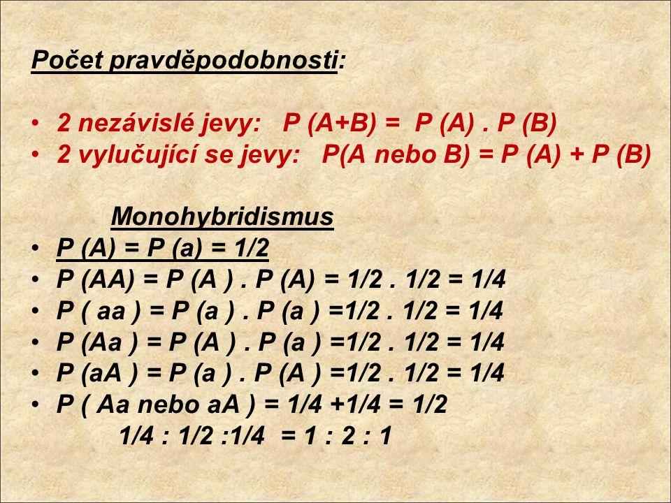 Počet pravděpodobnosti: 2 nezávislé jevy: P (A+B) = P (A). P (B) 2 vylučující se jevy: P(A nebo B) = P (A) + P (B) Monohybridismus P (A) = P (a) = 1/2
