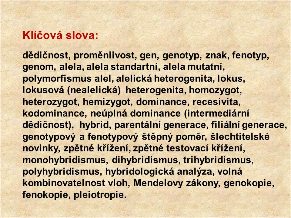 Klíčová slova: dědičnost, proměnlivost, gen, genotyp, znak, fenotyp, genom, alela, alela standartní, alela mutatní, polymorfismus alel, alelická heter