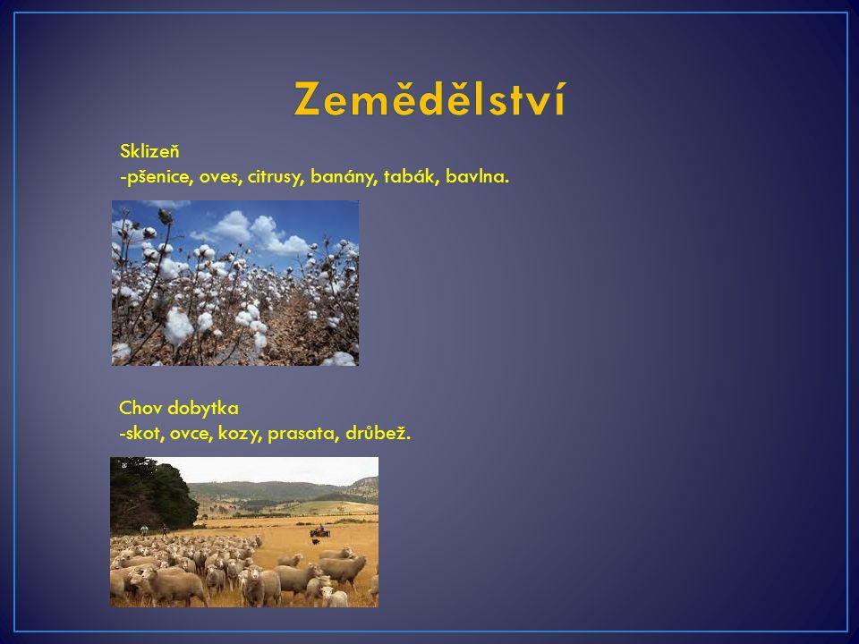 Sklizeň -pšenice, oves, citrusy, banány, tabák, bavlna. Chov dobytka -skot, ovce, kozy, prasata, drůbež.