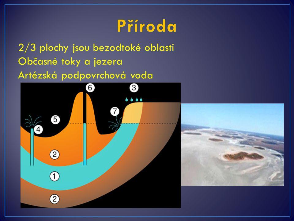 2/3 plochy jsou bezodtoké oblasti Občasné toky a jezera Artézská podpovrchová voda Občasné jezero Amadeus