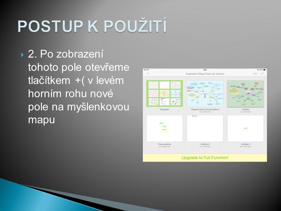  2. Po zobrazení tohoto pole otevřeme tlačítkem +( v levém horním rohu nové pole na myšlenkovou mapu
