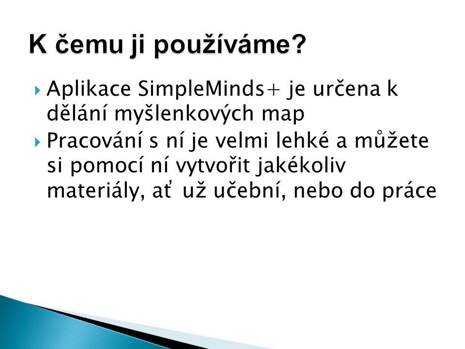  Aplikace SimpleMinds+ je určena k dělání myšlenkových map  Pracování s ní je velmi lehké a můžete si pomocí ní vytvořit jakékoliv materiály, ať už učební, nebo do práce