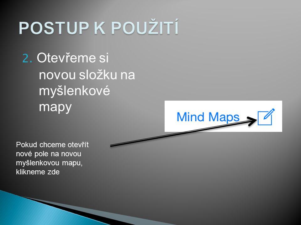 2. Otevřeme si novou složku na myšlenkové mapy Pokud chceme otevřít nové pole na novou myšlenkovou mapu, klikneme zde