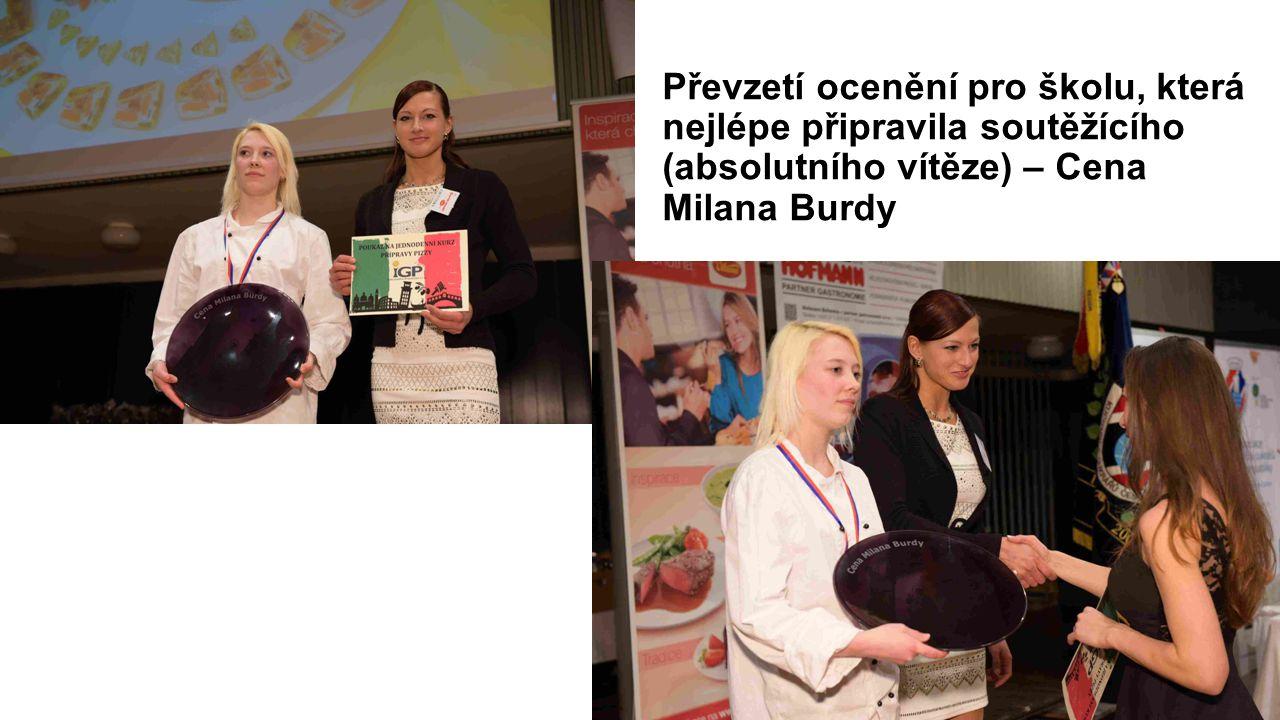 Převzetí ocenění pro školu, která nejlépe připravila soutěžícího (absolutního vítěze) – Cena Milana Burdy