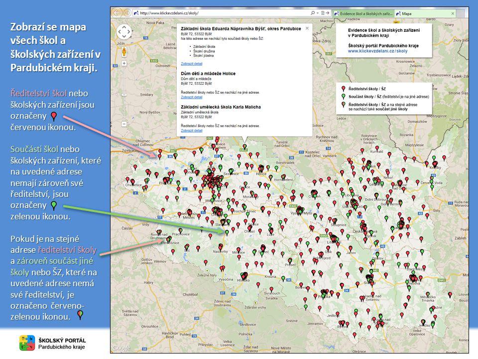 Zobrazí se mapa všech škol a školských zařízení v Pardubickém kraji. Ředitelství škol nebo školských zařízení jsou označeny červenou ikonou. Součásti