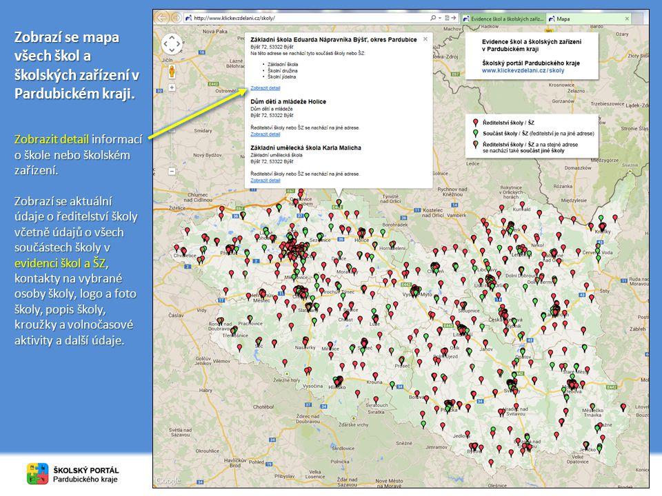 Zobrazí se mapa všech škol a školských zařízení v Pardubickém kraji. Zobrazit detail informací o škole nebo školském zařízení. Zobrazí se aktuální úda