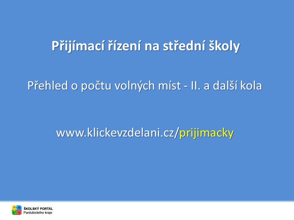 Přijímací řízení na střední školy Přehled o počtu volných míst - II. a další kola www.klickevzdelani.cz/prijimacky
