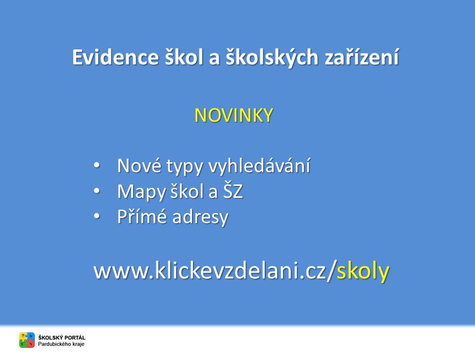Evidence škol a školských zařízení NOVINKY Nové typy vyhledávání Nové typy vyhledávání Mapy škol a ŠZ Mapy škol a ŠZ Přímé adresy Přímé adresy www.klickevzdelani.cz/skoly
