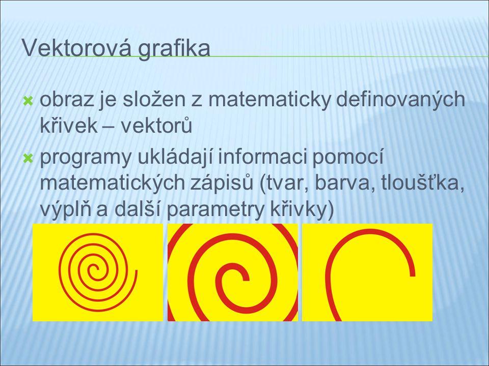 Vektorová grafika  obraz je složen z matematicky definovaných křivek – vektorů  programy ukládají informaci pomocí matematických zápisů (tvar, barva, tloušťka, výplň a další parametry křivky)