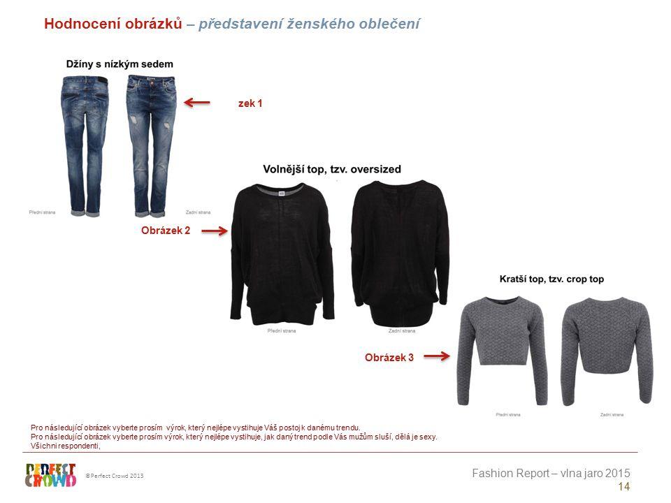 ©Perfect Crowd 2013 Fashion Report – vlna jaro 2015 14 Obrázek 1 Obrázek 2 Obrázek 3 Hodnocení obrázků – představení ženského oblečení Pro následující