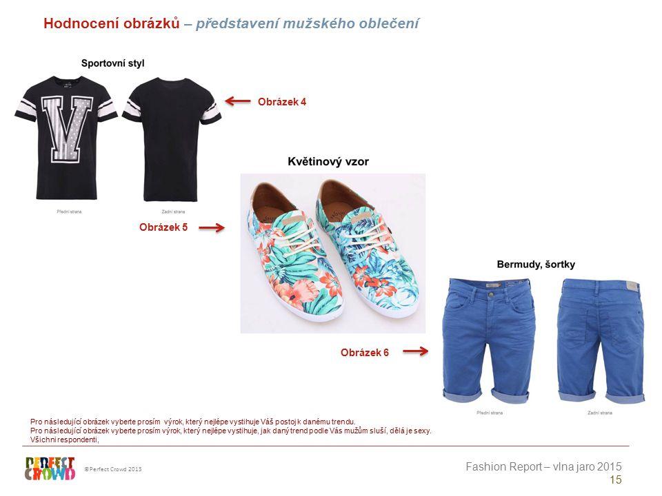 ©Perfect Crowd 2013 Fashion Report – vlna jaro 2015 15 Obrázek 4 Obrázek 5 Obrázek 6 Hodnocení obrázků – představení mužského oblečení Pro následující