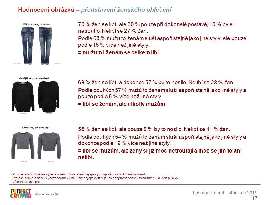 ©Perfect Crowd 2013 Fashion Report – vlna jaro 2015 17 Hodnocení obrázků – představení ženského oblečení Pro následující obrázek vyberte prosím výrok,