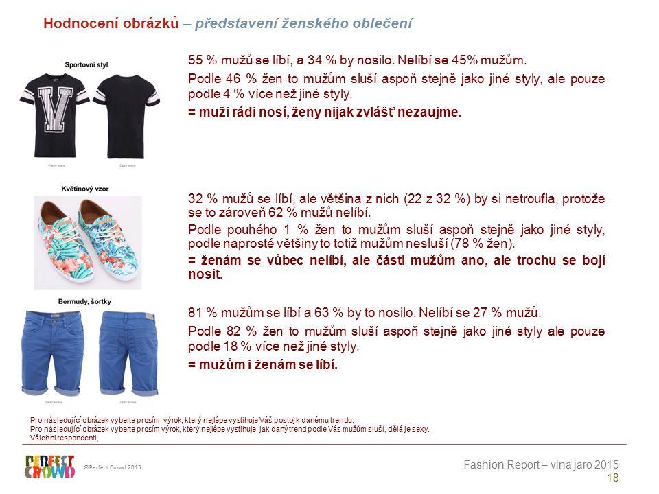 ©Perfect Crowd 2013 Fashion Report – vlna jaro 2015 18 Hodnocení obrázků – představení ženského oblečení Pro následující obrázek vyberte prosím výrok,