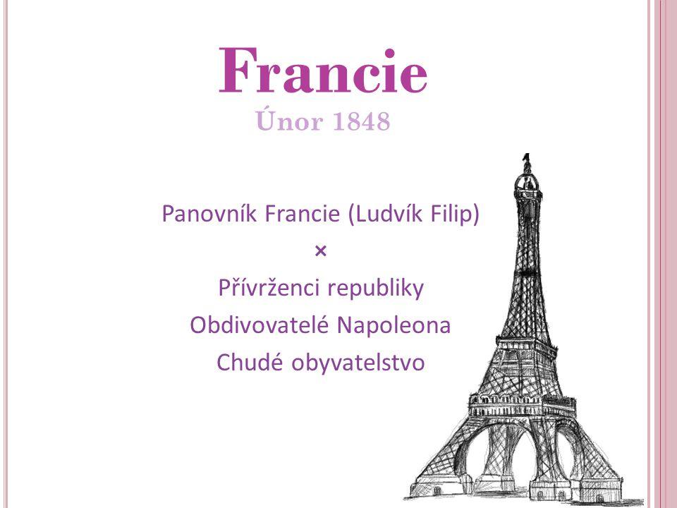 Panovník Francie (Ludvík Filip) × Přívrženci republiky Obdivovatelé Napoleona Chudé obyvatelstvo Francie Únor 1848