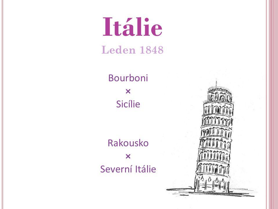 Itálie Leden 1848 Bourboni × Sicílie Rakousko × Severní Itálie