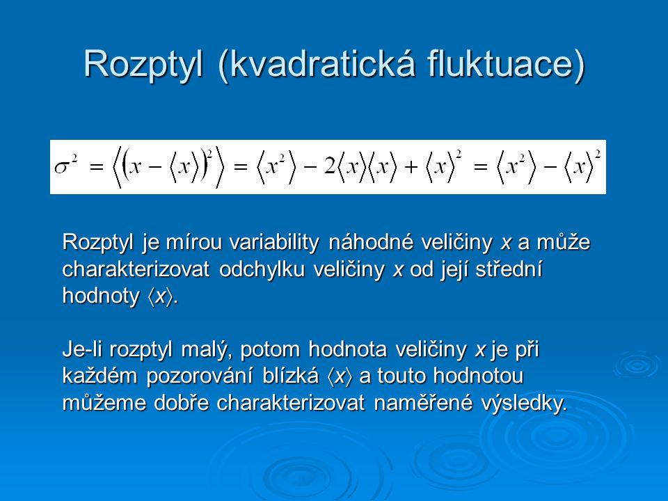 Rozptyl (kvadratická fluktuace) Rozptyl je mírou variability náhodné veličiny x a může charakterizovat odchylku veličiny x od její střední hodnoty  x .