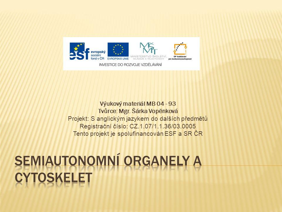 Výukový materiál MB 04 - 93 Tvůrce: Mgr. Šárka Vopěnková Projekt: S anglickým jazykem do dalších předmětů Registrační číslo: CZ.1.07/1.1.36/03.0005 Te