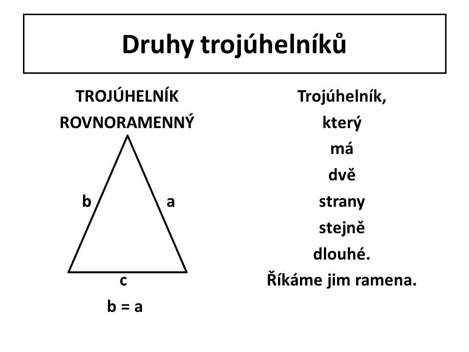 Druhy trojúhelníků TROJÚHELNÍK PRAVOÚHLÝTrojúhelník, jehož jeden úhel má 90°.