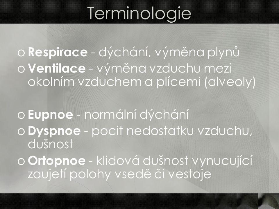 Terminologie o Respirace - dýchání, výměna plynů o Ventilace - výměna vzduchu mezi okolním vzduchem a plícemi (alveoly) o Eupnoe - normální dýchání o
