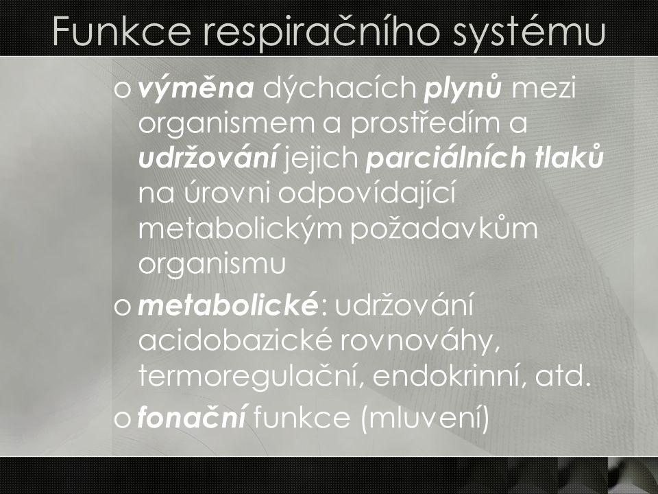 Funkce respiračního systému o výměna dýchacích plynů mezi organismem a prostředím a udržování jejich parciálních tlaků na úrovni odpovídající metaboli