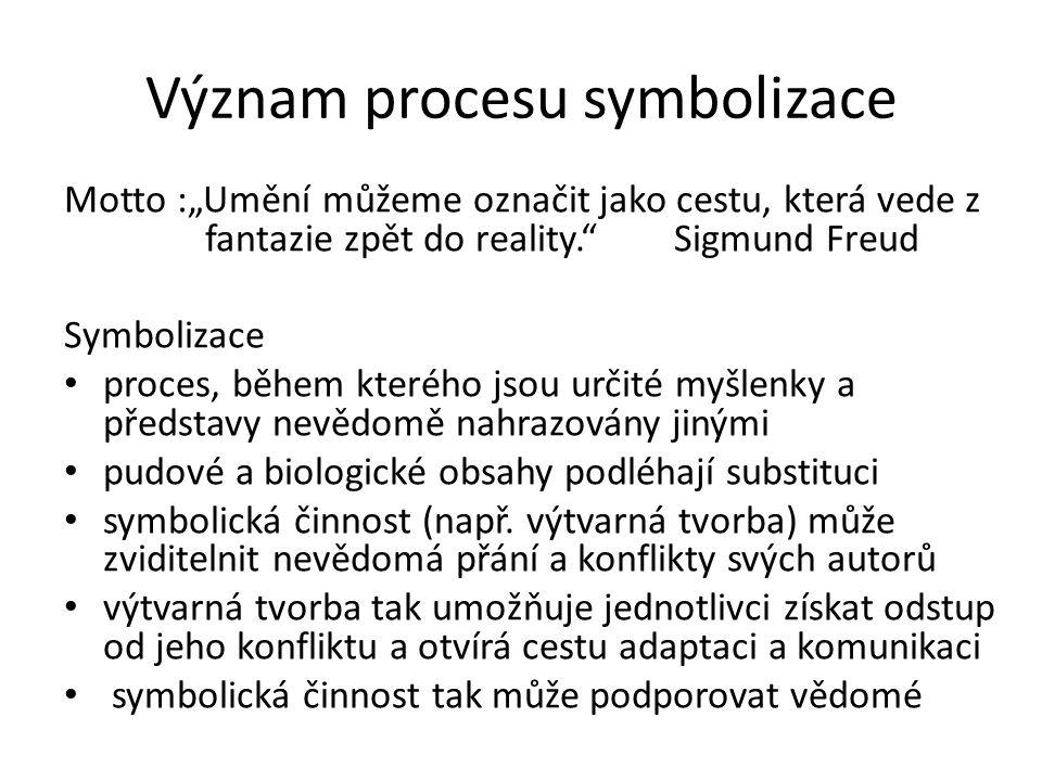 """Význam procesu symbolizace Motto :""""Umění můžeme označit jako cestu, která vede z fantazie zpět do reality. Sigmund Freud Symbolizace proces, během kterého jsou určité myšlenky a představy nevědomě nahrazovány jinými pudové a biologické obsahy podléhají substituci symbolická činnost (např."""