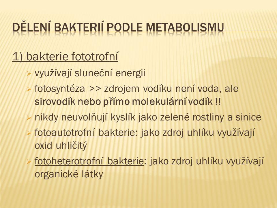 1) bakterie fototrofní  využívají sluneční energii  fotosyntéza >> zdrojem vodíku není voda, ale sirovodík nebo přímo molekulární vodík !!  nikdy n