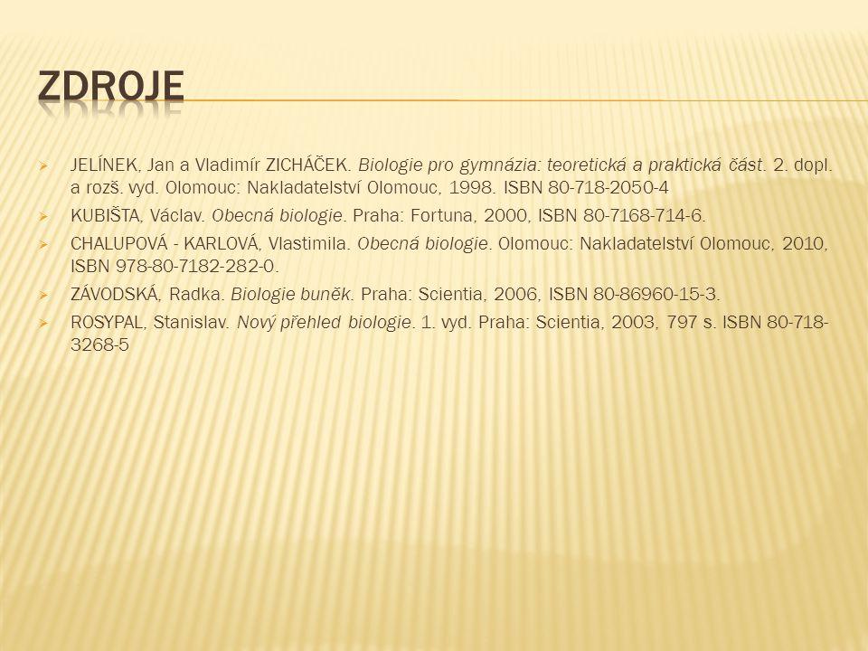  JELÍNEK, Jan a Vladimír ZICHÁČEK. Biologie pro gymnázia: teoretická a praktická část. 2. dopl. a rozš. vyd. Olomouc: Nakladatelství Olomouc, 1998. I