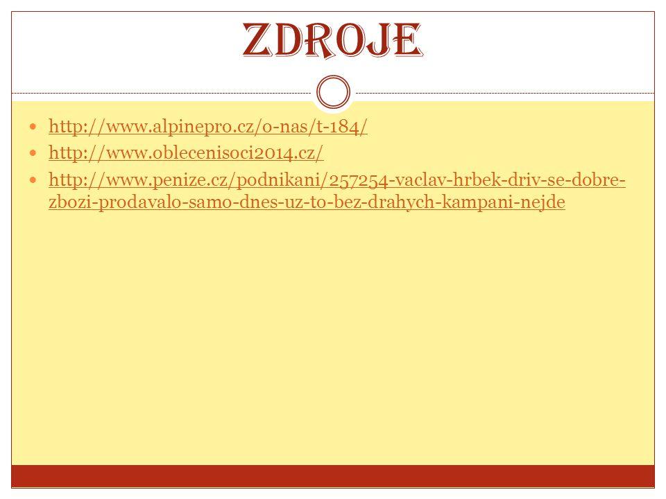 Zdroje http://www.alpinepro.cz/o-nas/t-184/ http://www.oblecenisoci2014.cz/ http://www.penize.cz/podnikani/257254-vaclav-hrbek-driv-se-dobre- zbozi-pr
