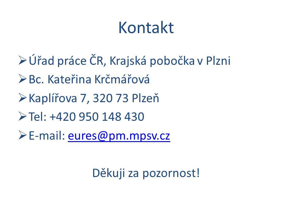 Kontakt  Úřad práce ČR, Krajská pobočka v Plzni  Bc. Kateřina Krčmářová  Kaplířova 7, 320 73 Plzeň  Tel: +420 950 148 430  E-mail: eures@pm.mpsv.