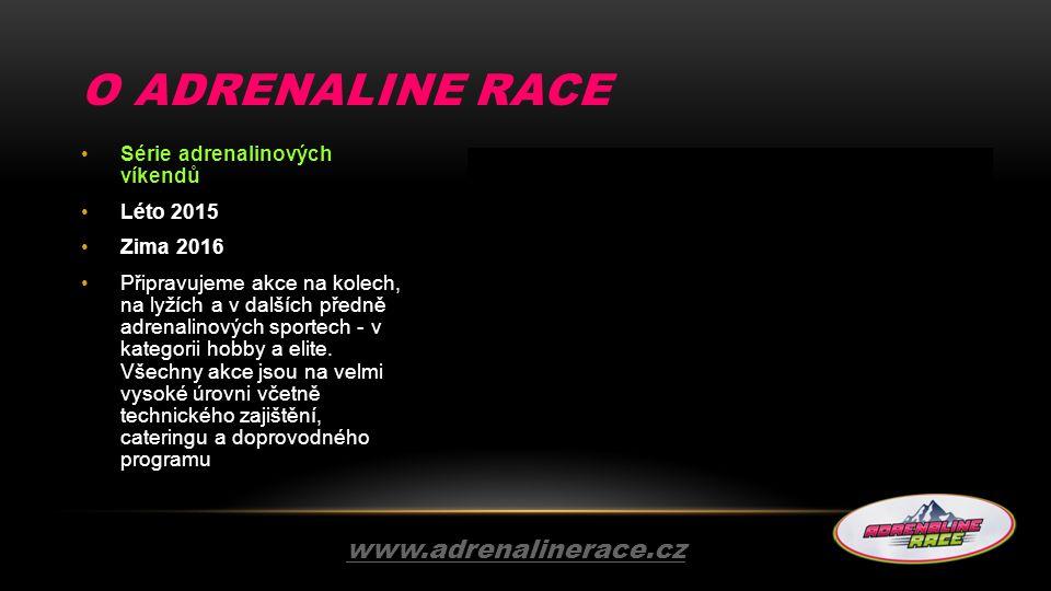 O ADRENALINE RACE Série adrenalinových víkendů Léto 2015 Zima 2016 Připravujeme akce na kolech, na lyžích a v dalších předně adrenalinových sportech -