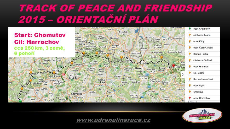 TRACK OF PEACE AND FRIENDSHIP 2015 – ORIENTAČNÍ PLÁN www.adrenalinerace.cz Start: Chomutov Cíl: Harrachov cca 250 km, 3 země, 6 pohoří