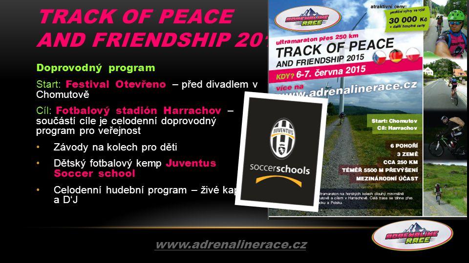 TRACK OF PEACE AND FRIENDSHIP 2015 Doprovodný program Start: Festival Otevřeno – před divadlem v Chomutově Cíl: Fotbalový stadión Harrachov – součástí