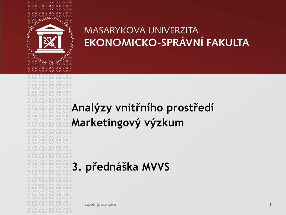 Zápatí prezentace1 Analýzy vnitřního prostředí Marketingový výzkum 3. přednáška MVVS