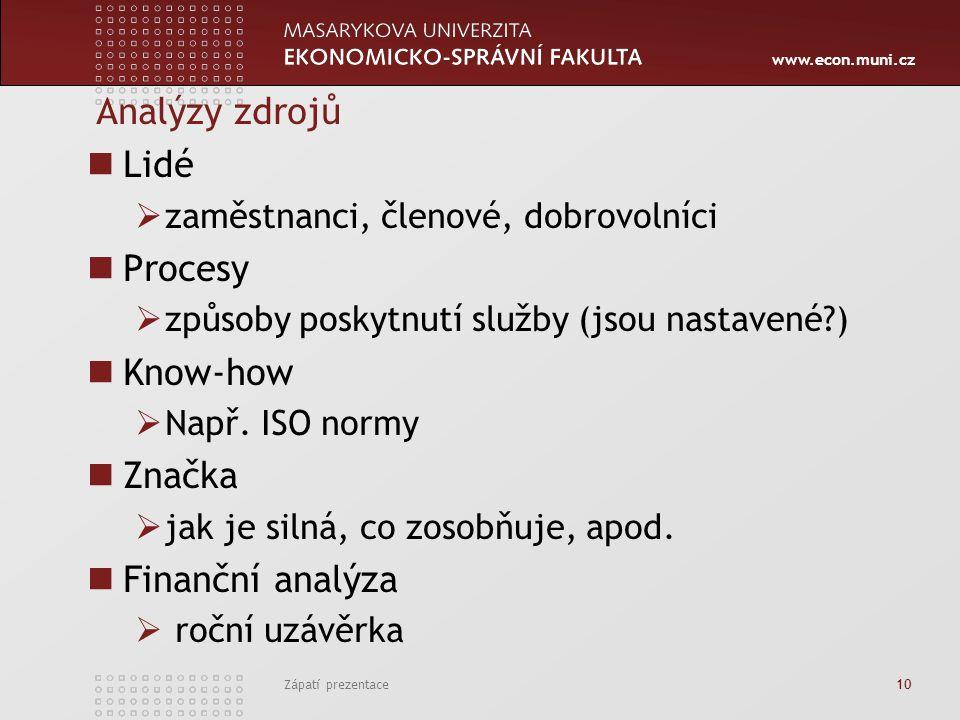 www.econ.muni.cz Analýzy zdrojů Lidé  zaměstnanci, členové, dobrovolníci Procesy  způsoby poskytnutí služby (jsou nastavené?) Know-how  Např.