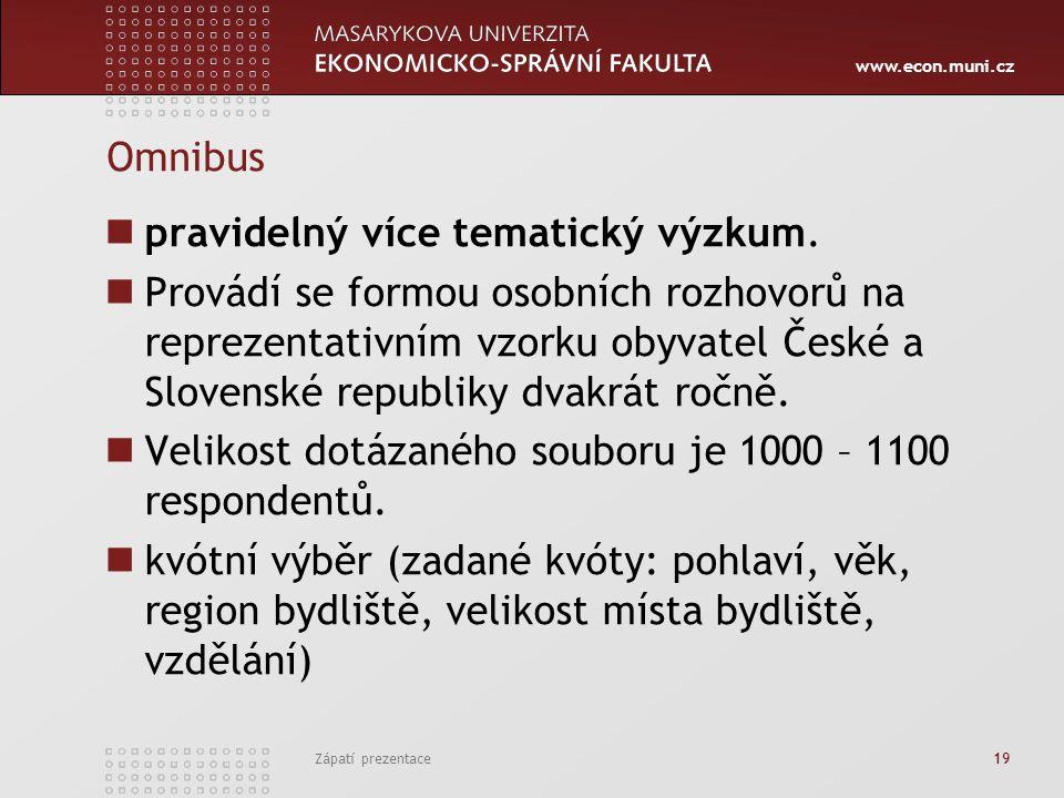 www.econ.muni.cz Omnibus pravidelný více tematický výzkum.