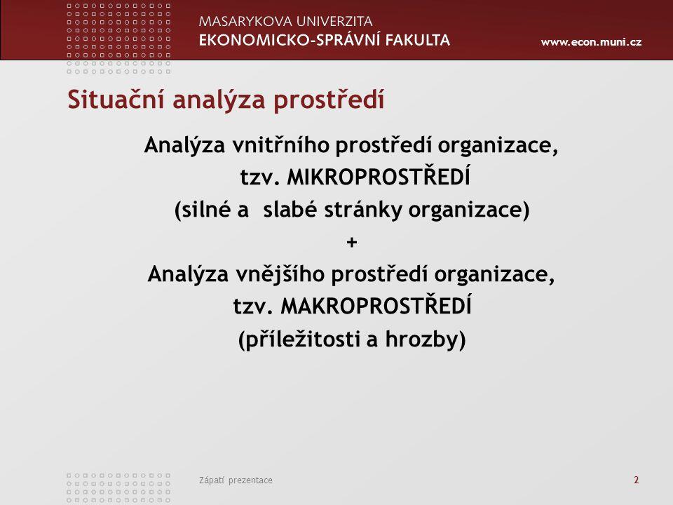 www.econ.muni.cz Zápatí prezentace 2 Situační analýza prostředí Analýza vnitřního prostředí organizace, tzv.