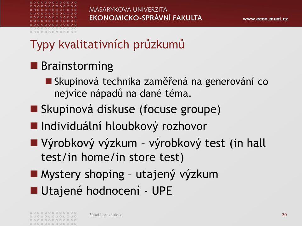 www.econ.muni.cz Typy kvalitativních průzkumů Brainstorming Skupinová technika zaměřená na generování co nejvíce nápadů na dané téma.