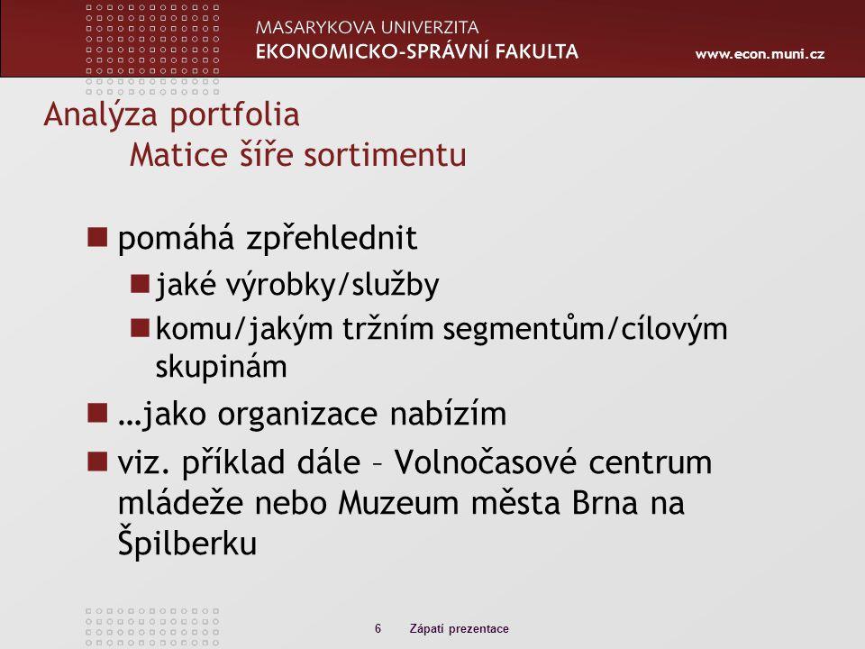 www.econ.muni.cz Analýza portfolia Matice šíře sortimentu pomáhá zpřehlednit jaké výrobky/služby komu/jakým tržním segmentům/cílovým skupinám …jako organizace nabízím viz.