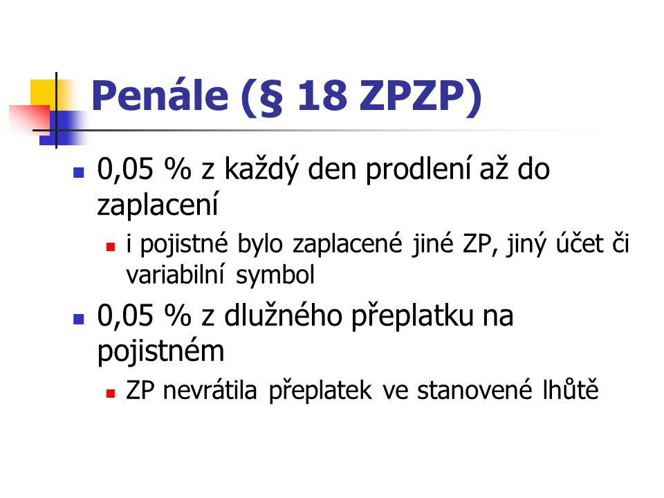 Penále (§ 18 ZPZP) 0,05 % z každý den prodlení až do zaplacení i pojistné bylo zaplacené jiné ZP, jiný účet či variabilní symbol 0,05 % z dlužného pře
