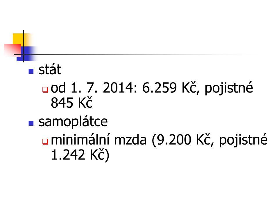 stát  od 1. 7. 2014: 6.259 Kč, pojistné 845 Kč samoplátce  minimální mzda (9.200 Kč, pojistné 1.242 Kč)