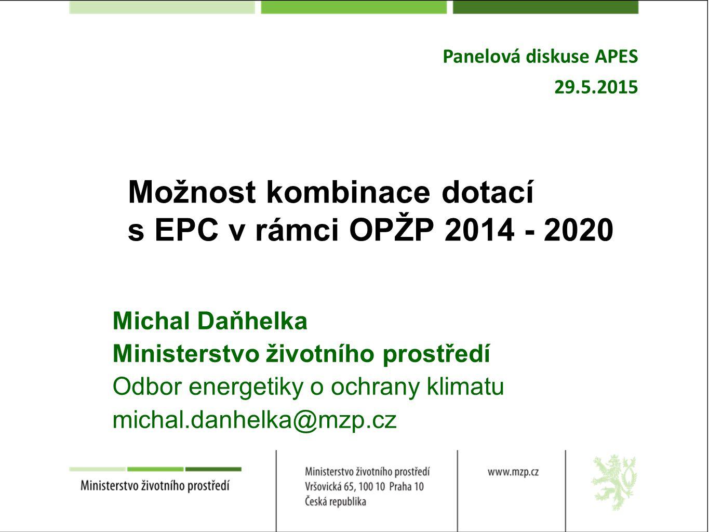 OPŽP PO5 Energetické úspory Navazujeme na předchozí období Komplexní řešení s výraznou úsporou energie Podpora pouze pro veřejné budovy – oprávnění příjemci obdobně jako 2007 – 2013, pouze podniky se 100% majetkovou účastí obcí pod OP PIK Náročné vyjednávání s EK = přísné podmínky pro zdroje z hlediska ochrany ovzduší (Ecodesign) Celková alokace: 13,8 mld.