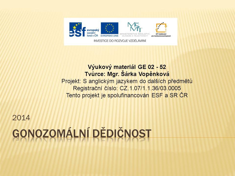 2014 Výukový materiál GE 02 - 52 Tvůrce: Mgr. Šárka Vopěnková Projekt: S anglickým jazykem do dalších předmětů Registrační číslo: CZ.1.07/1.1.36/03.00