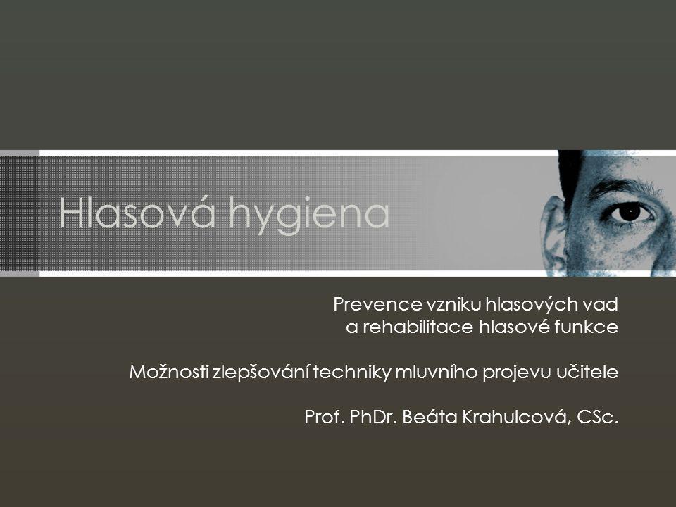 Hlasová hygiena Prevence vzniku hlasových vad a rehabilitace hlasové funkce Možnosti zlepšování techniky mluvního projevu učitele Prof. PhDr. Beáta Kr