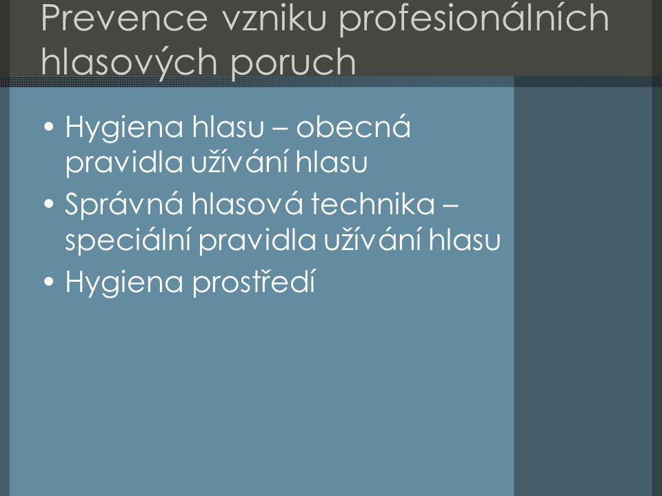 Prevence vzniku profesionálních hlasových poruch Hygiena hlasu – obecná pravidla užívání hlasu Správná hlasová technika – speciální pravidla užívání h