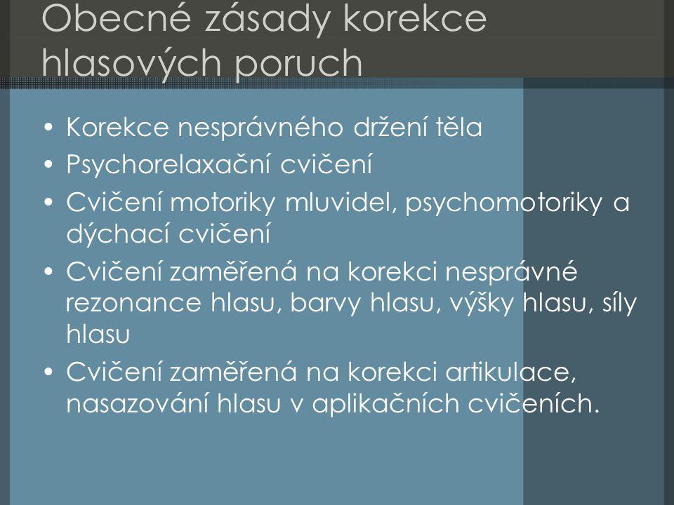 Obecné zásady korekce hlasových poruch Korekce nesprávného držení těla Psychorelaxační cvičení Cvičení motoriky mluvidel, psychomotoriky a dýchací cvi